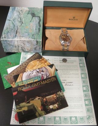 Auth 1993 Rolex Gmt Master Ii Steel Gold Wrist Watch,  Box Papers 16713 No Res