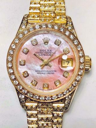 Estate Rolex Ladies Masterpiece President 18k Gold Datejust Pearl Diamond Bezel