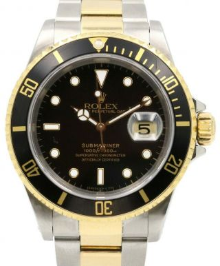 Rolex Submariner Date 18k Yellow Gold/steel Black 40mm Watch Box/papers Y 16613