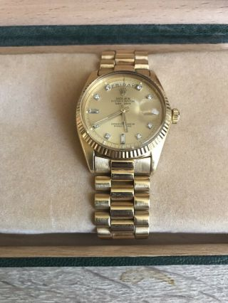 Rolex Day Date President 18k Gold Diamonds Baguette Dial And Papers
