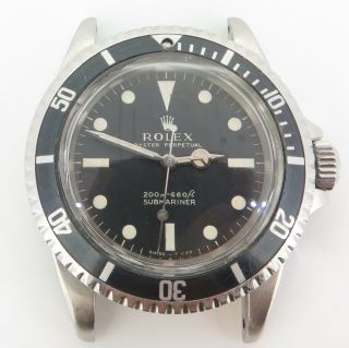 Rare Vintage 1967 Rolex Submariner 5513 Steel Watch Cal 1520 $1 N/res