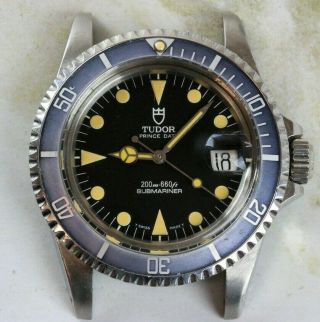 Vintage Tudor (by Rolex) Submariner Wristwatch Ref.  79090 Black Dial Faded Bezel