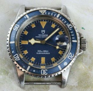 Vintage Tudor (by Rolex) Submariner Snowflake Wristwatch Ref.  9411/0 Blue Dial