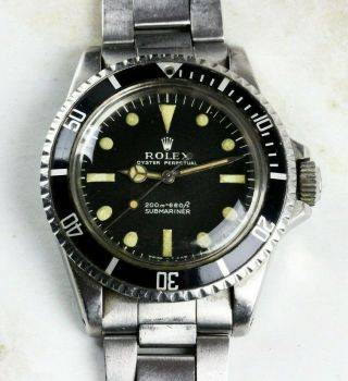 Vintage Rolex Submariner Dive Wristwatch Ref.  5513 Meters First Nr C.  1967