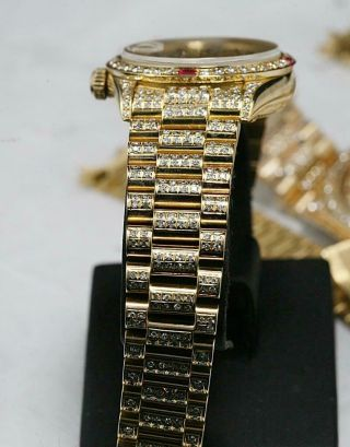 CUSTOM MADE After Market 18K Solid Gold Men ' s 31mm Datejust Quick Set Auto Watch 10