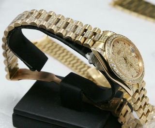 CUSTOM MADE After Market 18K Solid Gold Men ' s 31mm Datejust Quick Set Auto Watch 11