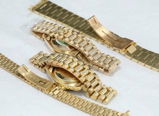 CUSTOM MADE After Market 18K Solid Gold Men ' s 31mm Datejust Quick Set Auto Watch 2