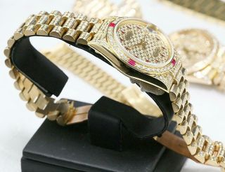 CUSTOM MADE After Market 18K Solid Gold Men ' s 31mm Datejust Quick Set Auto Watch 4