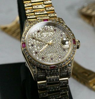 CUSTOM MADE After Market 18K Solid Gold Men ' s 31mm Datejust Quick Set Auto Watch 8
