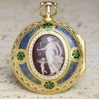 British Enamel Painting Repeater Gold Pair Case Verge Fusee Antique Pocket Watch