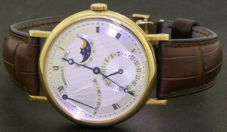 Breguet 7137 18k Gold Automatic Moon Phase 45 Hr Power Reserve Men