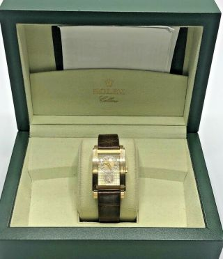 18k Rolex Cellini Prince Mens Wristwatch W/ Brown Alligator Leather $15,  000