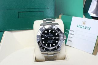 Rolex Submariner 114060 Black Ceramic Stainless Steel Watch Box & Papers 2016