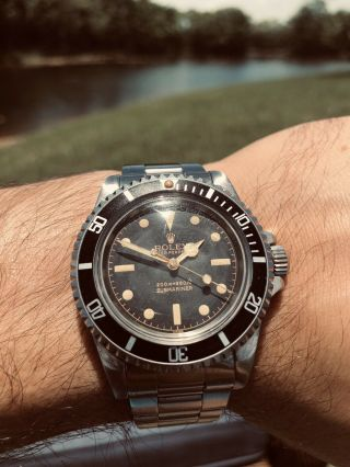 Rare 1966 Vintage Rolex Submariner 5512 Gilt 2 Line Butterfly Rotor Box Papers
