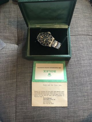 Rare 1966 Vintage Rolex Submariner 5512 Gilt 2 Line Butterfly Rotor Box Papers 3