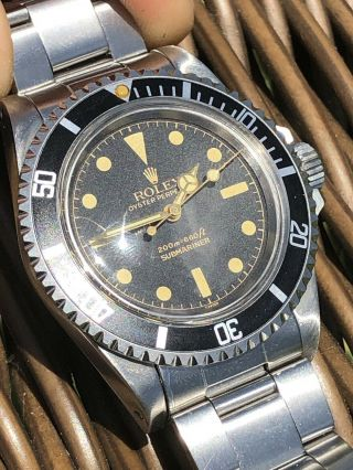 Rare 1966 Vintage Rolex Submariner 5512 Gilt 2 Line Butterfly Rotor Box Papers 4