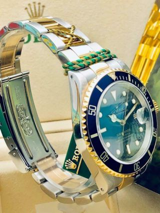 Estate Rolex Submariner 16613 Date SS 18k Gold BLUE Dial w/ Box,  Books MINTY 10
