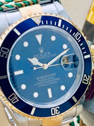 Estate Rolex Submariner 16613 Date SS 18k Gold BLUE Dial w/ Box,  Books MINTY 11
