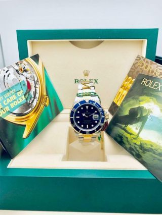Estate Rolex Submariner 16613 Date SS 18k Gold BLUE Dial w/ Box,  Books MINTY 2