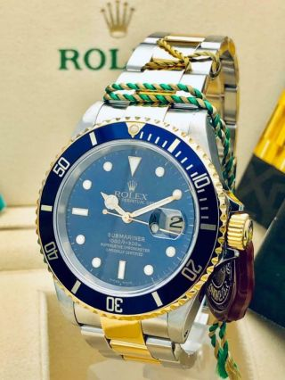 Estate Rolex Submariner 16613 Date SS 18k Gold BLUE Dial w/ Box,  Books MINTY 3