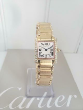 """Cartier 18k Yellow Gold Tank Francaise """" Diamonds Everywhere  Papers """""""