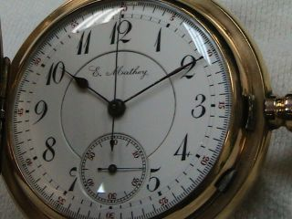 Minute Repeating Chronograph 16 Size Pocket Watch 14k Gold Observation Back