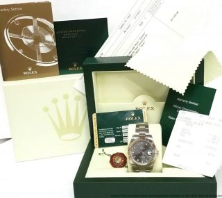 Rolex Datejust Ii 116334 18k Gold Ss Factory Rhodium Diamond Watch Box Papers