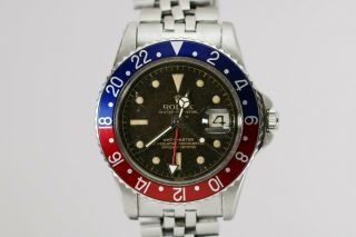 Rolex Gmt Master 1675 Gilt Chapter Ring Pointed Crown Guard Project Watch,  1960s