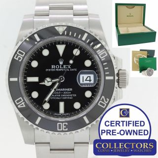2019 Rolex Submariner Date 116610 Steel 40mm Black Dive Ceramic Watch Box