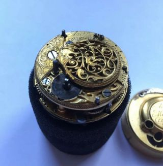Rare Early English Fusee Verge Half / Quarter Repeating Pocket Watch Mvt.  C.  1740
