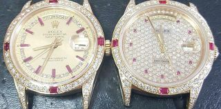 CUSTOM MADE After Market 18K Solid Gold Men ' s 36mm Day - date Quick Set Auto 3
