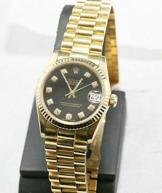 CUSTOM MADE After Market 18K Solid Gold Men ' s 36mm Day - date Quick Set Auto 6