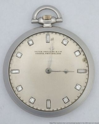Heavy Patek Philippe 62.  3g Diamond Art Deco Mens 1930s Pocket Watch Orig Case