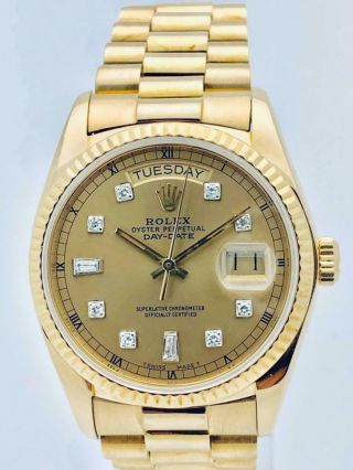 Estate Rolex Day Date Presidential 18k Solid Gold Mens 36mm Quickset Minty
