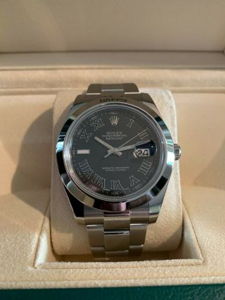 Rolex Datejust Ii 126300 41mm Rhodium Grey/black Dial 2016