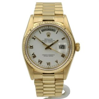 18k Rolex President Day Date 18038 Oyster Perpetual W/ Book & Extra Links 6420