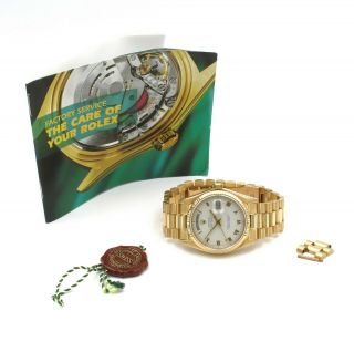 18K ROLEX PRESIDENT DAY DATE 18038 OYSTER PERPETUAL W/ BOOK & EXTRA LINKS 6420 2