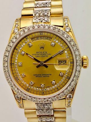 Estate Rolex Day Date President 18k Gold Mens 36mm Diamond Band & Bezel