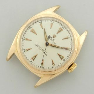 Rolex Oyster Perpetual Big Bubble Ovettone 6029 18kt Rose Gold Vintage Watch