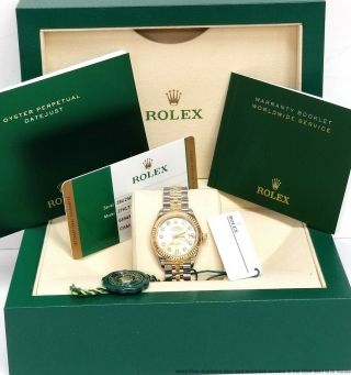 Rolex Datejust 279173 Factory Diamond Lady 18k Gold Steel Watch Box Papers Tags
