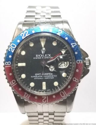 1675 Rolex Gmt Master Oyster Perpetual Pepsi Dial Vintage Mens Steel 1960s Watch