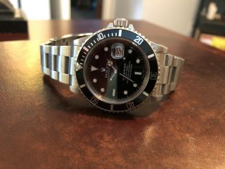 Mens Rolex Submariner Stainless Steel Watch Date Sub Black Dial & Bezel 116610