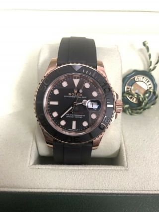 Rolex Yacht - Master Matte Black Dial Everose Gold Rubber Automatic Watch 116655 2