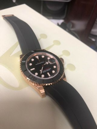 Rolex Yacht - Master Matte Black Dial Everose Gold Rubber Automatic Watch 116655 8