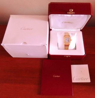 Cartier Santos 18k Solid Yellow Gold 29mm Automatic Dress Watch B&b