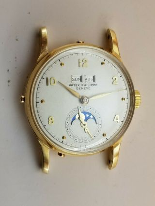 Patek Philippe Triple Date Moon Phase Custom 18k Solid Gold Case Wrist Watch.