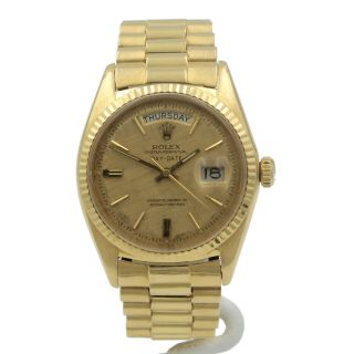 18k Rolex President Day Date Solid Gold Pie Pan Dial Oyster Perpetual Nr 6106