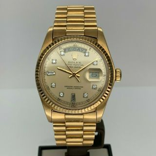 Rolex President Day/date Ref.  1803 18kt Yellow Gold Diamond Dial Circa 1978 Nr