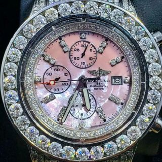 Iced Out Breitling Avenger A13370 Appx.  25 Ctw Diamonds