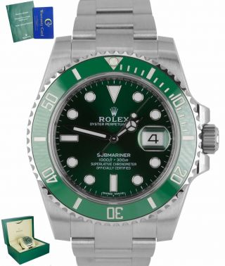 2012 Rolex Submariner Date Hulk 116610 Lv Green Ceramic 40mm Dive Watch